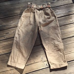 VINTAGE paper bag trouser chino pants with belt